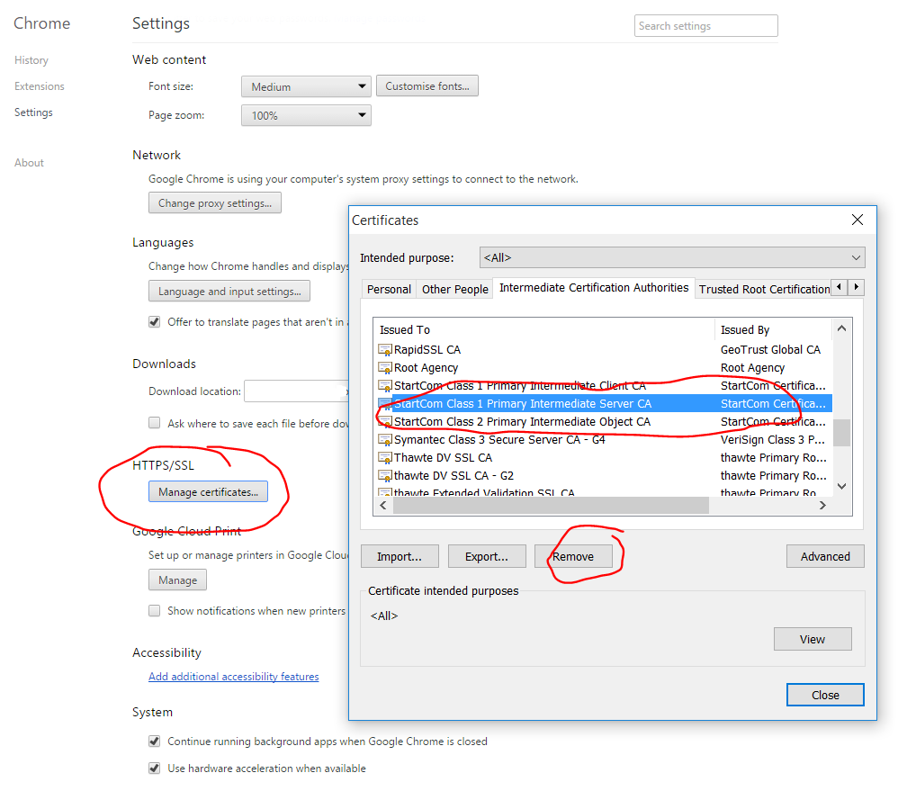 How to fix google chrome sha1 warnings with startssl startcom how to clear out the startcom intermediate certificate from google chromes certificate cache 1betcityfo Images