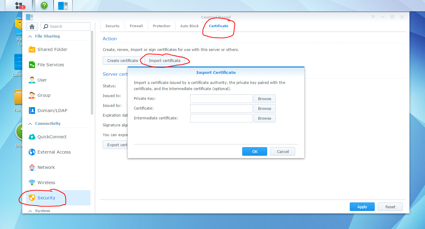 How to fix google chrome sha1 warnings with startssl startcom screenshot of synology dsm certificate import modal window 1betcityfo Images